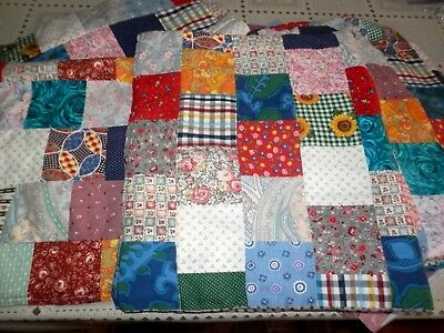 Vintage Lot 8 Cotton Fabric Quilted Pieces, Crafts or Decorating
