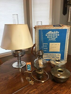 Aladdin Lamp Lot 2 Complete One With Box And Shade Plus Part