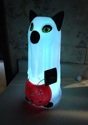 "Black Cat 16 1/2"" Ghost Pumpkin Color Changing LED Blow Mold Halloween Lighted"