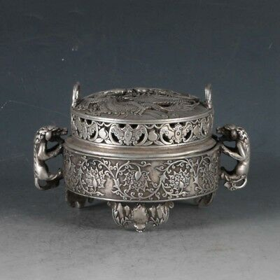 Chinese  Silvering Copper Dragon Incense Burner Made By Royal