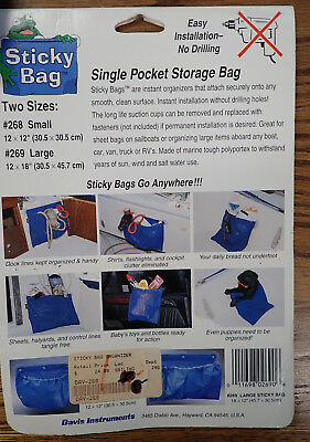 """2X DAVIS Sticky Bags boat/ RV deck bags 18"""" X 12"""" suction cup mounting"""