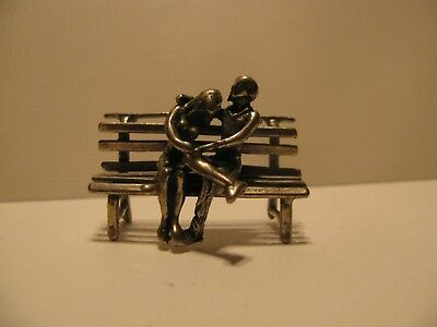Large 15.9 grams STERLING SILVER MINIATURE LOVERS on a BENCH