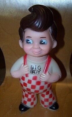 "VINTAGE 70s Big Boy Shoney's Coin Bank 9 "" inch Tall Vinyl Advertising Toy"