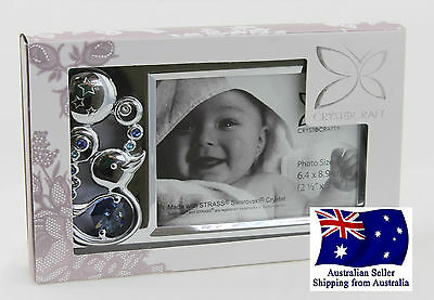CRYSTOCRAFT Baby Boy Photo Frame with SWAROVSKI Crystals