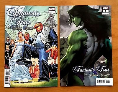 FANTASTIC FOUR WEDDING SPECIAL 1 Main A + Artgerm Lau Variant Set 2018 NM
