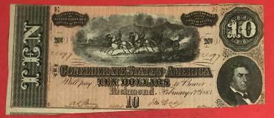 1864 $10 US Confederate States of America! Old US Paper Money Currency!
