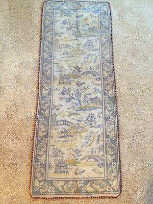 Rare Blue Willow Tapestry Ethnic Asian Oriental Silk Antique Tapestry