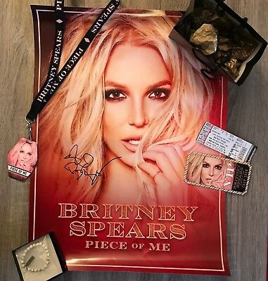 Britney Spears SIGNED Piece of Me Tour Poster VIP Concert Package