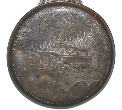 ANTIQUE STEAM LOCOMOTIVE ETCHED  POCKET WATCH COVER c. 1907 + 2 indian cents