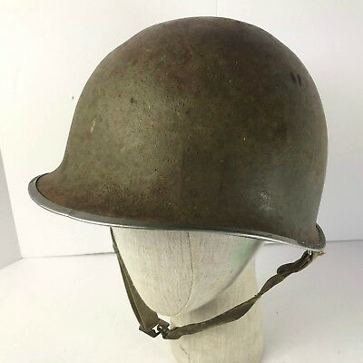 Original WW2 US Fixed Bale M1 Helmet with Chinstrap and Capac Liner