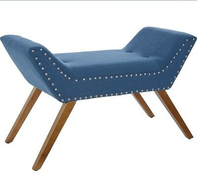 Chaise Longue Bed Seat Long Bench Wooden Legs Modern Couch Blue Window Seat Hall