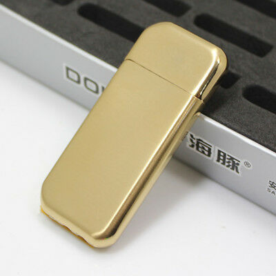 Cigar Cigarette Thin Metal Lighter Refillable Flame Butane Gas Dolphin - GOLD