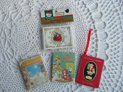 4 VTG Tiny Mini Christmas Books Santa Claus Animals Christmas Kurt S Adler