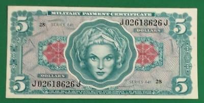 $5 US Military Payment Certificate Series 641 Choice Crisp AU MPC! Very Nice!