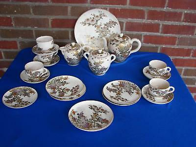 Antique 21 Piece Japanese Satsuma Flower Tea Set Cake Set