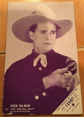 Fred Gilman Cut Coupon In The Smiling Wolf 1928 Western Exhibit Post Card