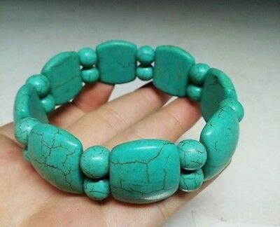 Delicate Chinese Natural Turquoise Bead Weave Elastic Bracelet