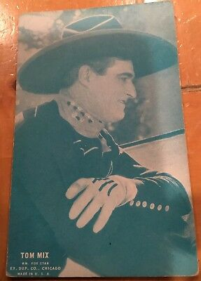 Tom Mix Wm. Fox Star Greenish Profile  1928 Western Exhibit Post Card