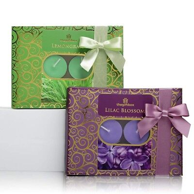 Scented Tealight Candles Gift Set, 1 x 12 Lemongrass and 1 x 12 Lilac Blossom