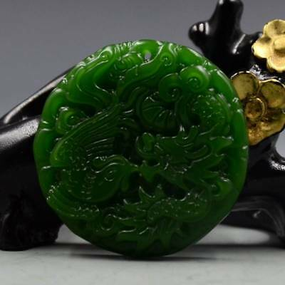 Chinese Natural Green Hetian Jade Hand-carved Dragon & Phoenix Pendant