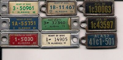 Alabama 9 Used DAV mini Keychain License Plate Tags Disabled American Veterans
