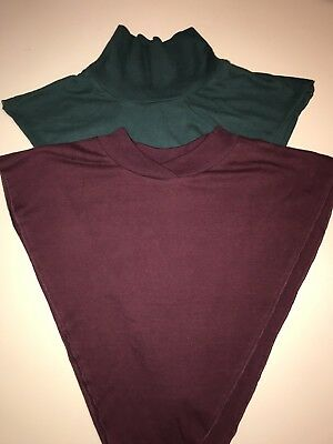 Lot Of 2 Women Dickey Dickies Faux Front Pullover Collar Shirt Purple Dark Green