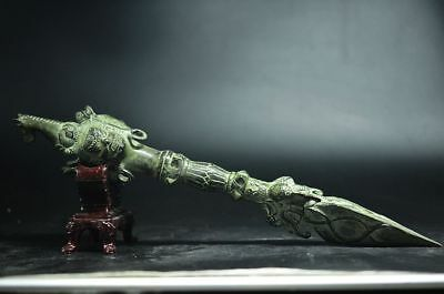 36CM COLLECT CHINESE OLD PURE BRONZE HANDMADE DAGGER WEAPON FA QI SCULPTURE  b05