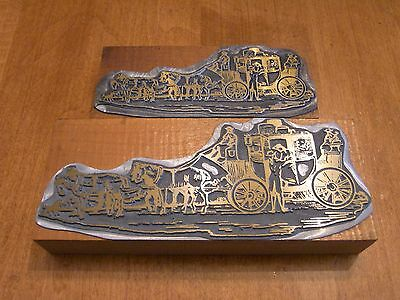 vintage printing press wood cut stamp stage coach pair small and large