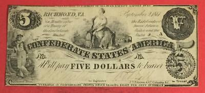 1861 $5 Confederate States of America Hard to Find! VG! Old US Paper Currency
