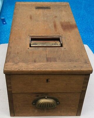 Antque Gledhill Halifax British Product Cash Till Wood Cash Register Money Box