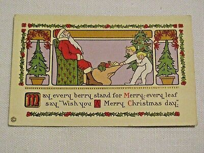 Kids stealing bag of toys from Santa claus c1910 vintage Christmas postcard
