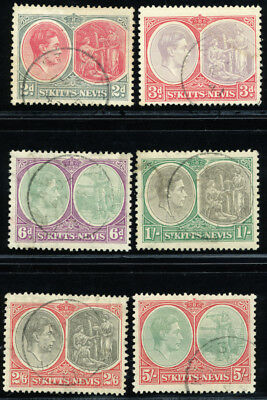 ST. KITTS & NEVIS 1938 SC 82a-88a VF USED - SCARCE COMPLETE SET 6 STAMP