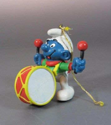 Vintage SMURF Schtroumpf  with Drum Chritmas Cord - Hong Kong 1981 PVC
