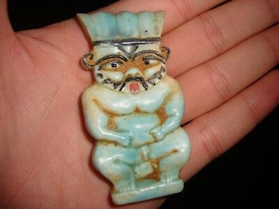 Rare Ancient Egypt Egyptian antique FAIENCE BES AMULET New Kingdom 300-600 BC