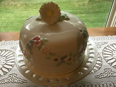 Vintage Ceramic Cake Stand With Floral Dome Cover, Signed