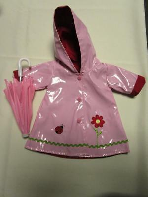 PINK FLOWER LADYBUG RAINCOAT and UMBRELLA SET Fit Chatty Cathy FREE SHIPPING
