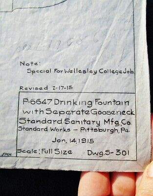 1915 WELLESLEY COLLEGE Antique Drinking Fountain Plans STANDARD SANITARY MFG CO.