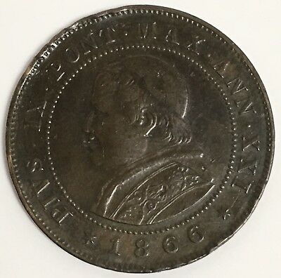 1866 Italy Papal States (Vatican City) 2 Soldi Coin KM#1373 Pope Pius IX (L657)