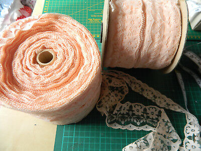 """100 mtrs Peach lace trimming 58mm/2"""" wide floral job lot sock craft babydolls"""