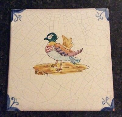 Vintage Ceramic Hand Painted Tile