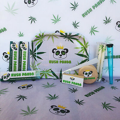 Kush Panda King Size Combo Tray+Papers+Tips+Rolling+Machine+Grinder+Joint+Cone