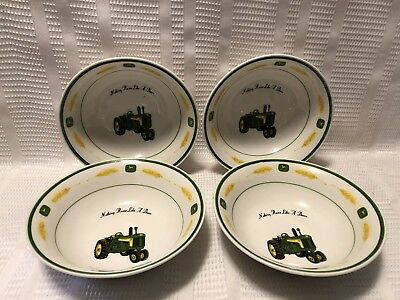 """Gibson-John Deere """"Nothing Runs Like A Deere"""" Tractor Cereal Bowl Set (Qty.4)"""