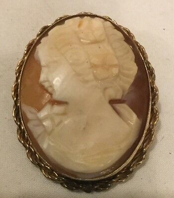 Antique Victorian Gold Filled Cameo Pin/Brooch-L@@K