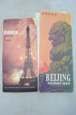 vintage maps of Paris and Beijing in English