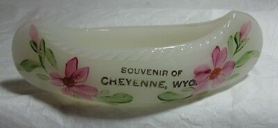 Vtg Souvenir Hand Painted Canoe Milk Glass Boat Advertising Cheyenne Wyoming Adv