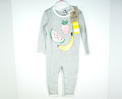 Cotton On Kids Baby Girls Romper Black Striped Jumpsuit with Fruits 6-12m