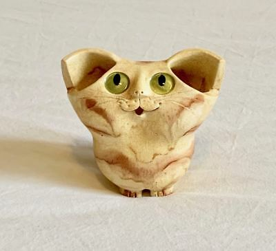 VINTAGE SIGNED SCHAER AUSTRALIAN POTTERY  CAT with GREEN EYES VASE