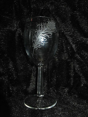 Personalised Hand Engraved Wine Glass Peacock Feather Name / Message Added Free