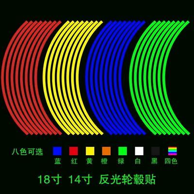 Car Rim Stripe Wheel Decal Tape Stickers 16 Strips Reflective Motorcycle
