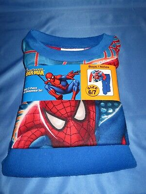 New Boys SPIDERMAN Flannel 2 Piece Sleepwear Pajama Set, 6/7